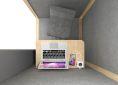budka YOUNG wnętrze budki telefonicznej do biura stolik z laptopem i przyłączeniami hoker