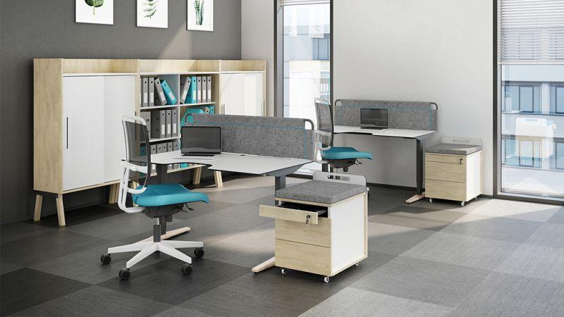 biurko z blatem antybakteryjnym kontenerek szafy niskie z drzwiami przesuwnymi 3OH