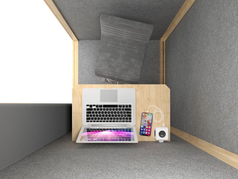 budka telefoniczna jednoosobowa do biura tania widok wnętrza