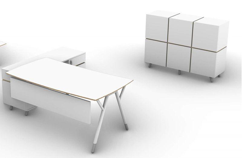 białe biurko na stelażu metalowym minimalistyczne szafy sysyem snabb