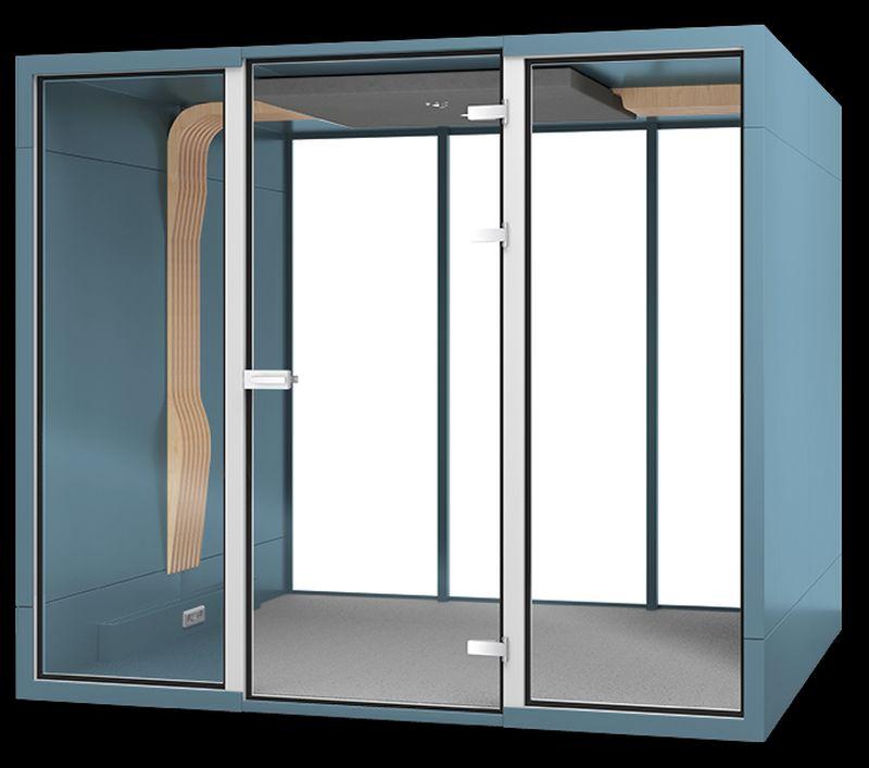 kabina dźwiękochłonna do biura niebieska budka akustyczna