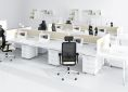 hebe meble biurowe do openspace biurko łączone z przegrodą tapicerowaną kontenerki pod biurkowe nowoczesne biuro