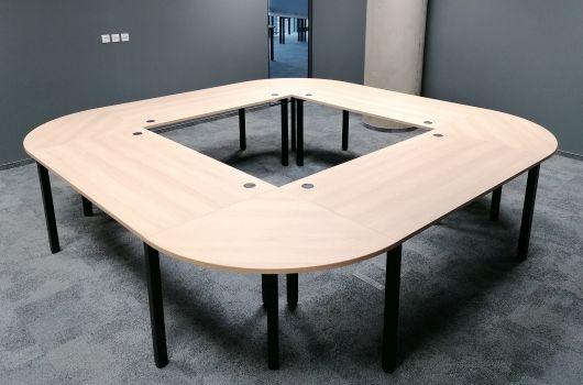 duży stół konferencyjny owalny 12 osobowy z elementów hebe 4 stóły z przystawkami