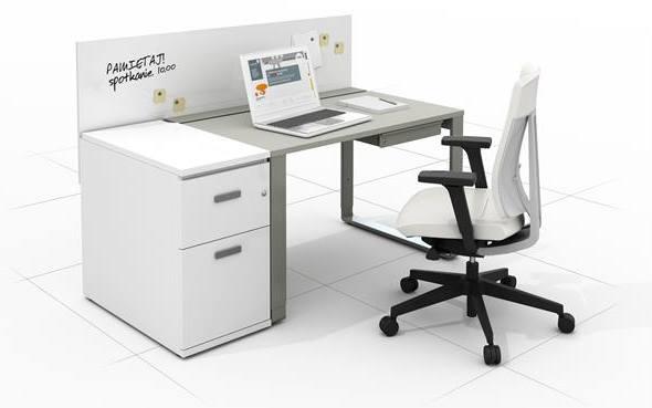 biele biurko pracownicze z krzeslem biurowym