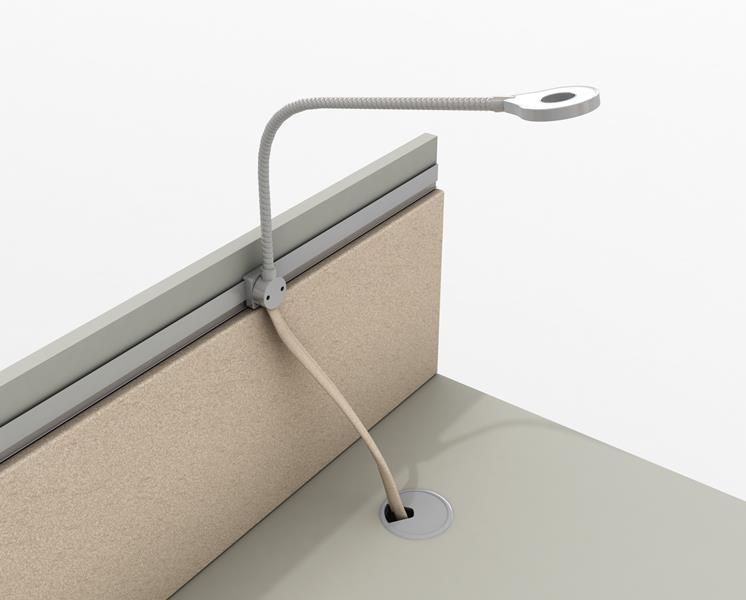 lampka zintegrowana z biurkiem pracowniczym