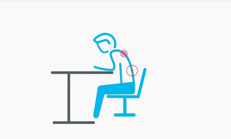 ergonomiczne biurko bóle kręgosłupa w pracy w pozycji siedzącej