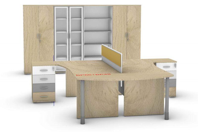 biurko 2 osobowe z kontenerami szafy i regały