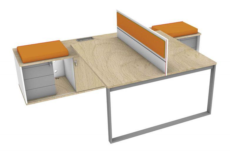 biurko podwójne z przesłoną wsparte na komodach