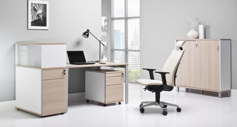 biuro do pracy zdalnej biurko z kontenerami fotel z zagłówkiem szafki niskie