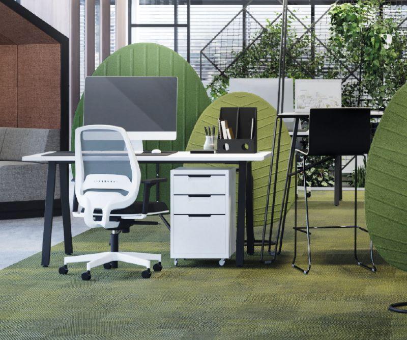 ekrany niwelujące hałas w biurze o naturalnym wyglądzie i ciekawej kolorystyce