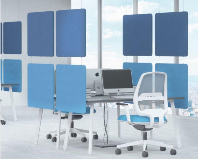 ekrany biurowe wiszące wygłuszające do podziału oupenspace