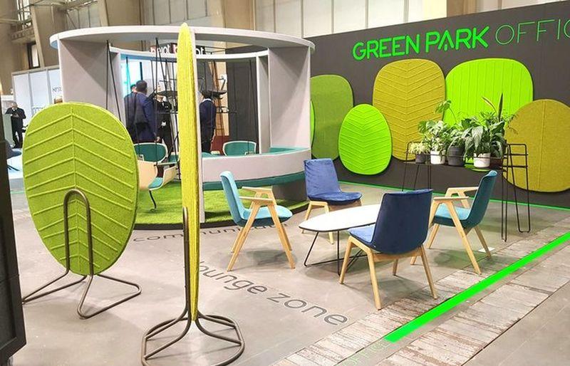 ekrany jak liście natura w biurze green park office