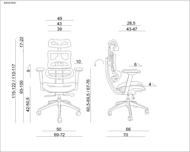 wymiary fotela ergotech